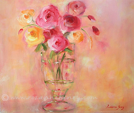 Pink and Yellow Roses in Glass Vase