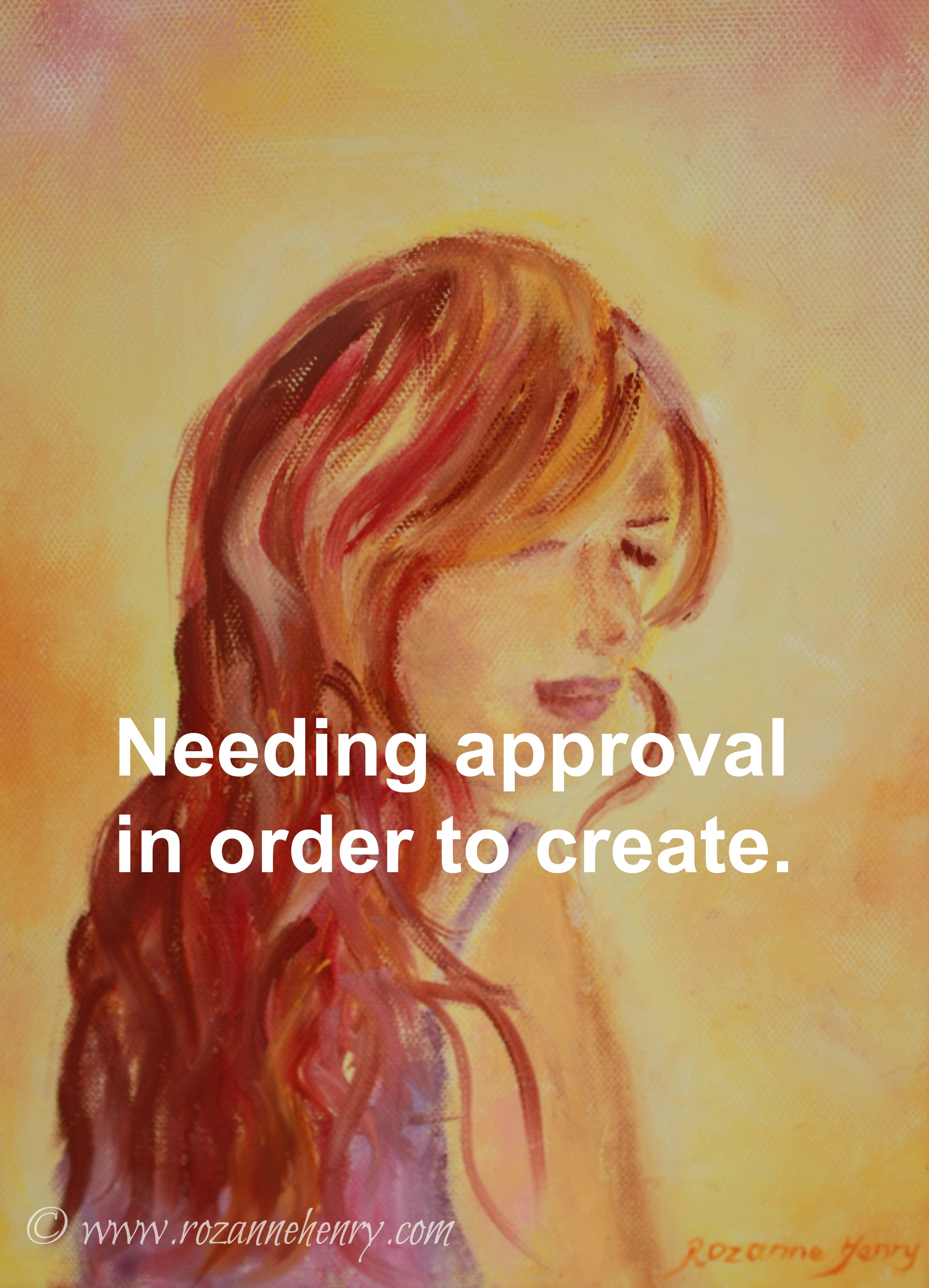 -lady painting with words needing approval in order to create